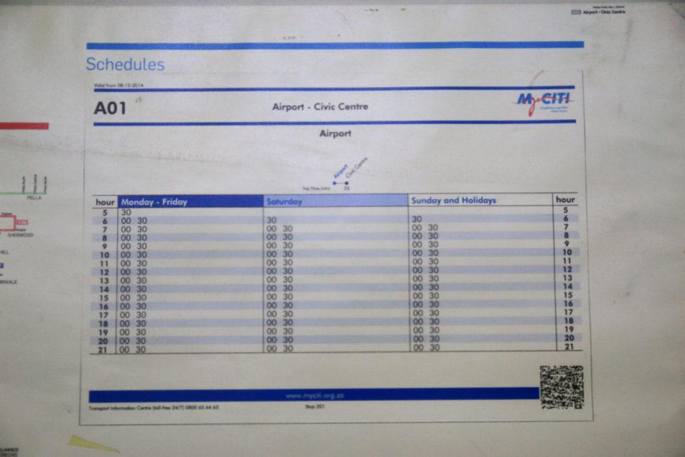 ケープタウンバス時刻表